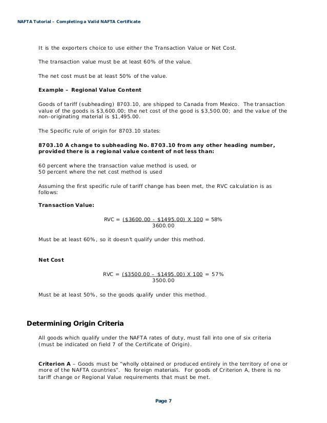 nafta certificate of origin template