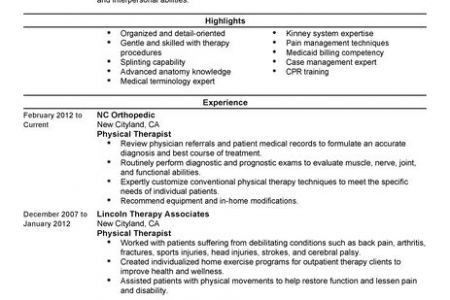 Sample Resume For Physical Therapist Unforgettable Physical - physical therapist resume