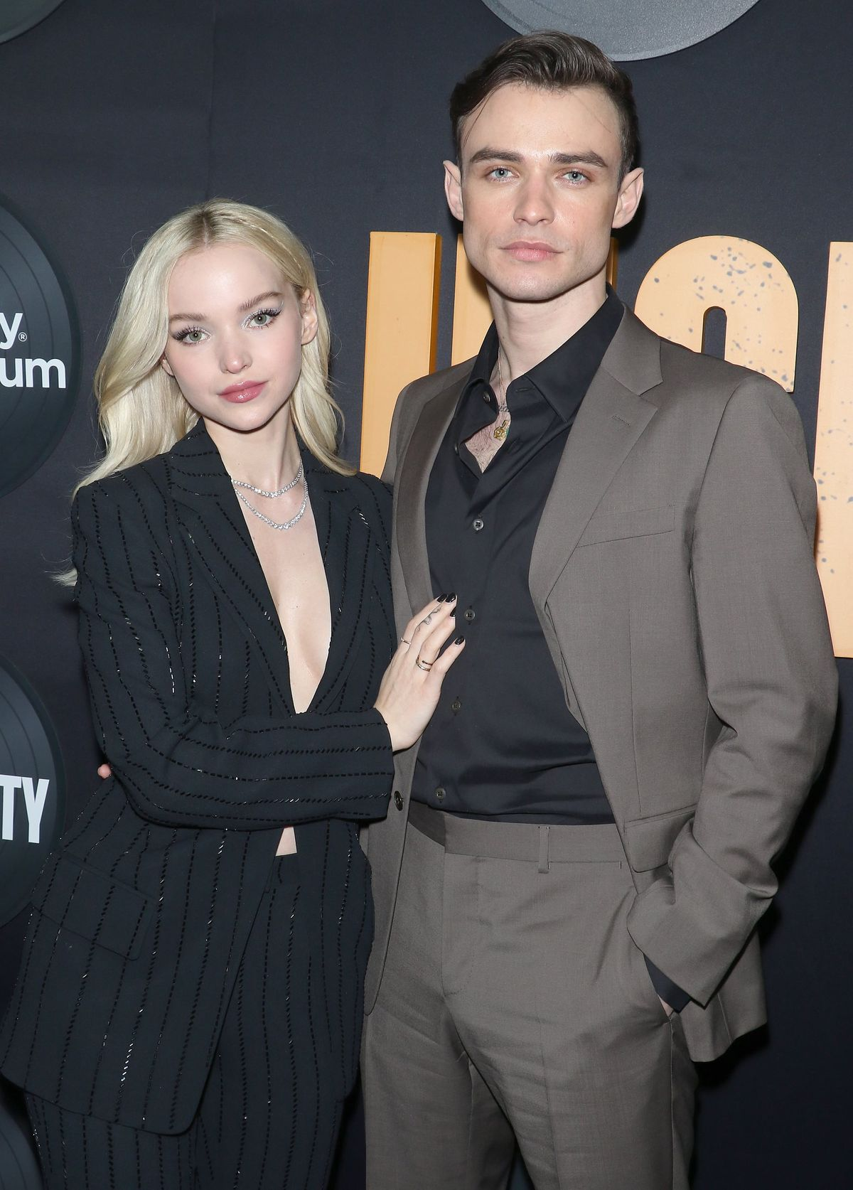 NEW YORK, NEW YORK - FEBRUARY 13: Dove Cameron and Thomas Doherty attend the Hulu's