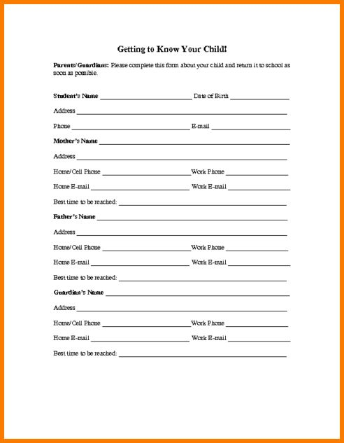 5 contact info templates formats examples in word excel college - information sheet template word