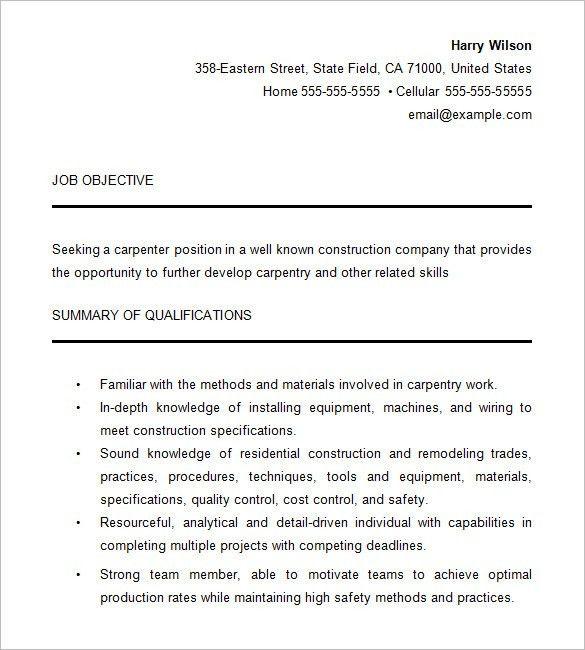 Carpenter Resume Resume, Carpenter Resume Template 9 Free Samples - carpenter resume example