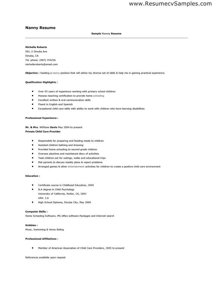 Nanny Sample Resume Unforgettable Full Time Nanny Resume Examples
