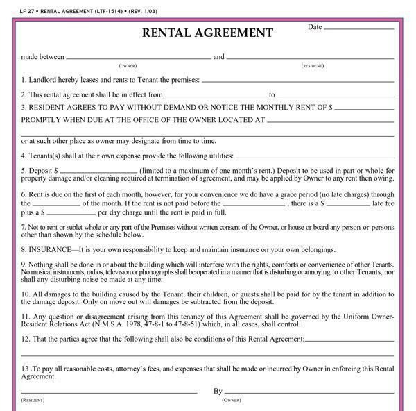 Printable Rental Contract Free Rental Forms To Print Free And - rent to own home contract