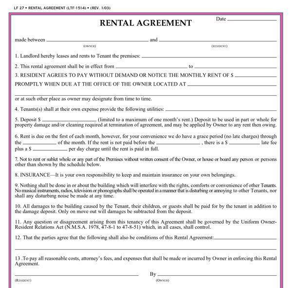Free Printable Rental Agreement Form Free Rental Forms To Print - printable rental agreements