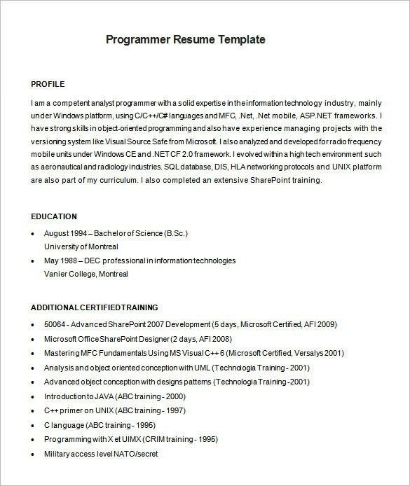 computer programmer resume samples madratco - Computer Programmer Resume Examples