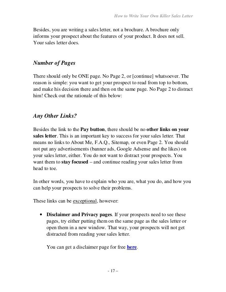 How To Write Your Own Seller Letter  Format Of Sales Letter