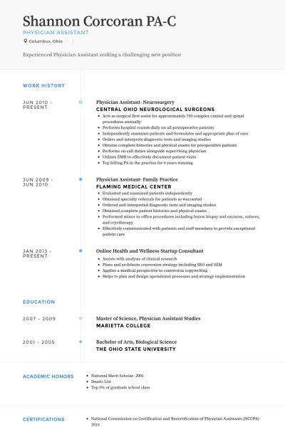 Physician Assistant Resume Sample Physician Assistant Resume