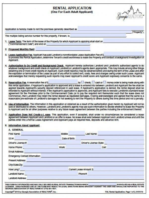 Rental Application Form Word Application Form Template, Rental - rental application pdf