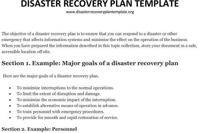 Sample disaster recovery plan template 7 download free - disaster recovery plan template