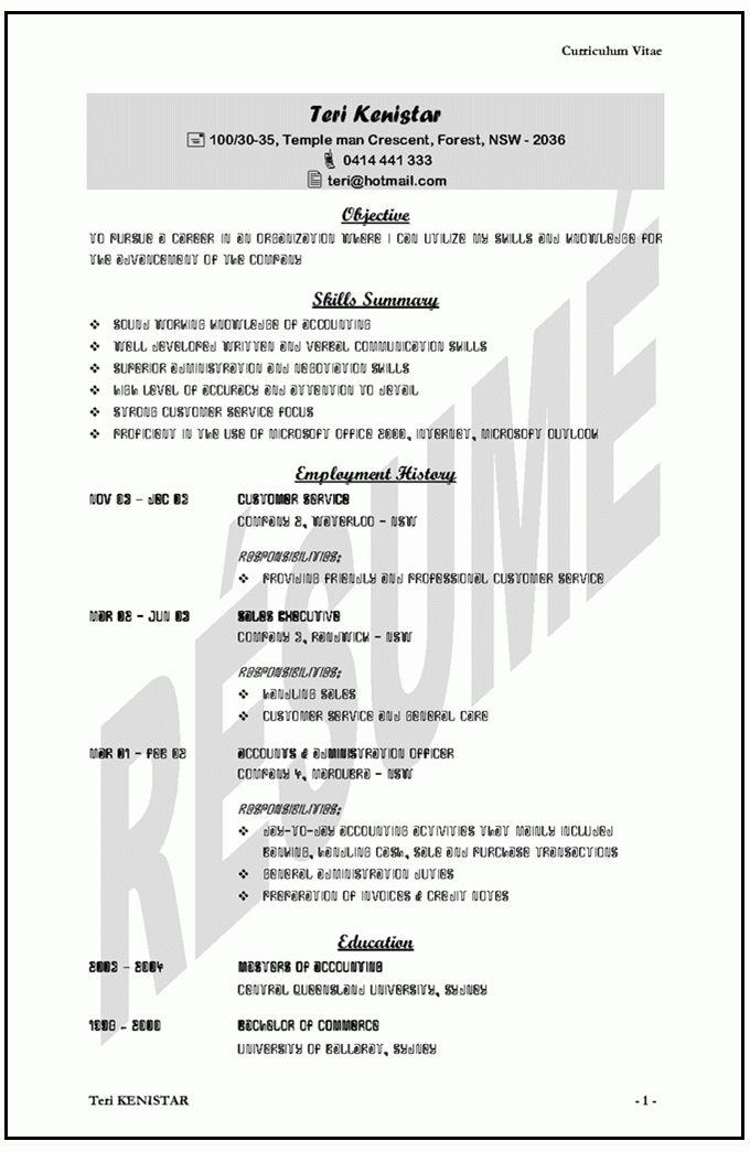 australia resume sample resume examples australia professional resume templates australia - Professional Resume Template Australia