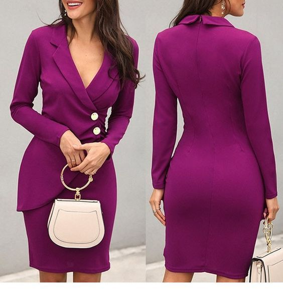 A sweet purple dress with a white bag