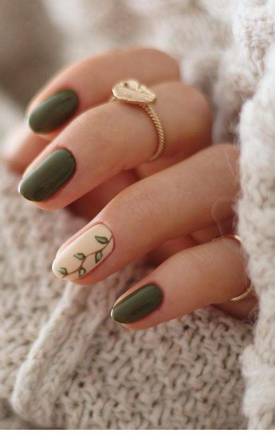 Nice olive nails with print