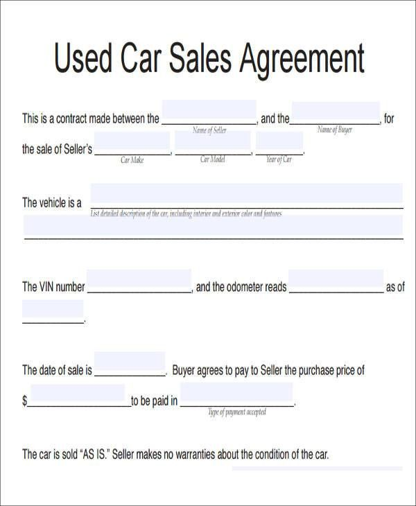 Vehicle Contract Template Car Purchase Contract Template, Car - auto sales contract template