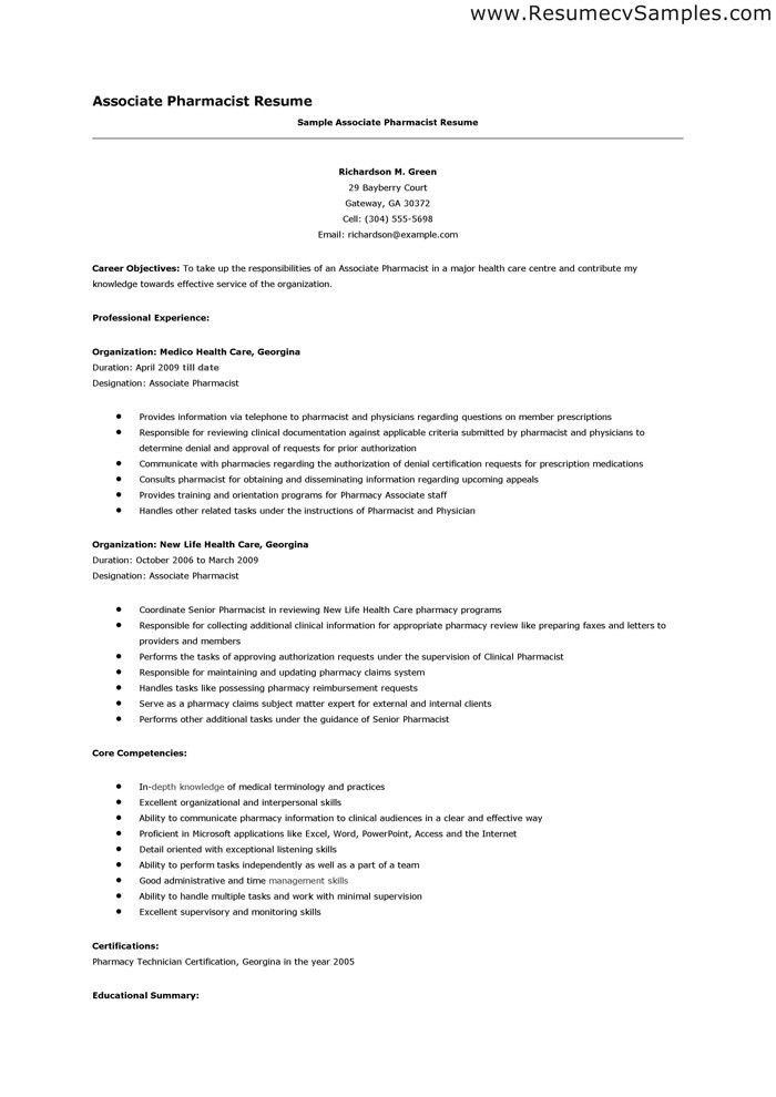 Retail Pharmacist Resume Hospital Sample