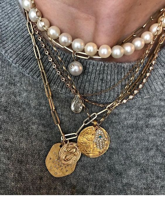 Gold necklaces and pearls