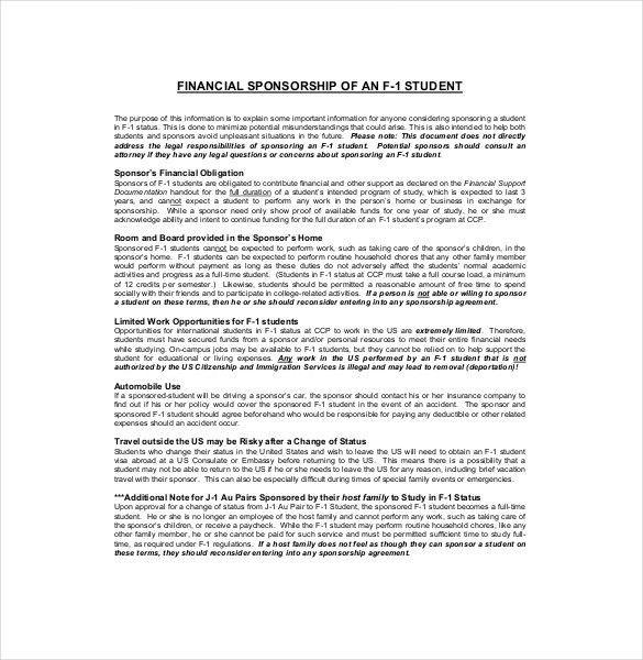 Athlete Sponsorship Contract 15 Sponsorship Agreement Templates - sponsorship contract template