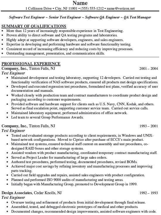 qa testing resume samples