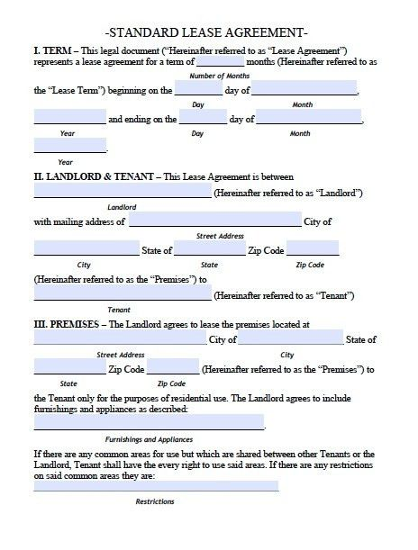 Simple Residential Lease Agreement Template Basic Rental - standard lease agreement template