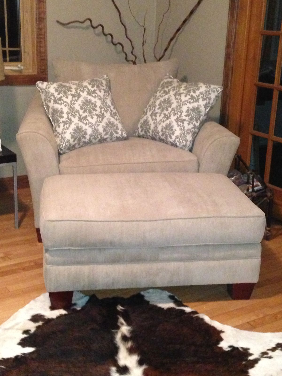 small comfy chair with ottoman
