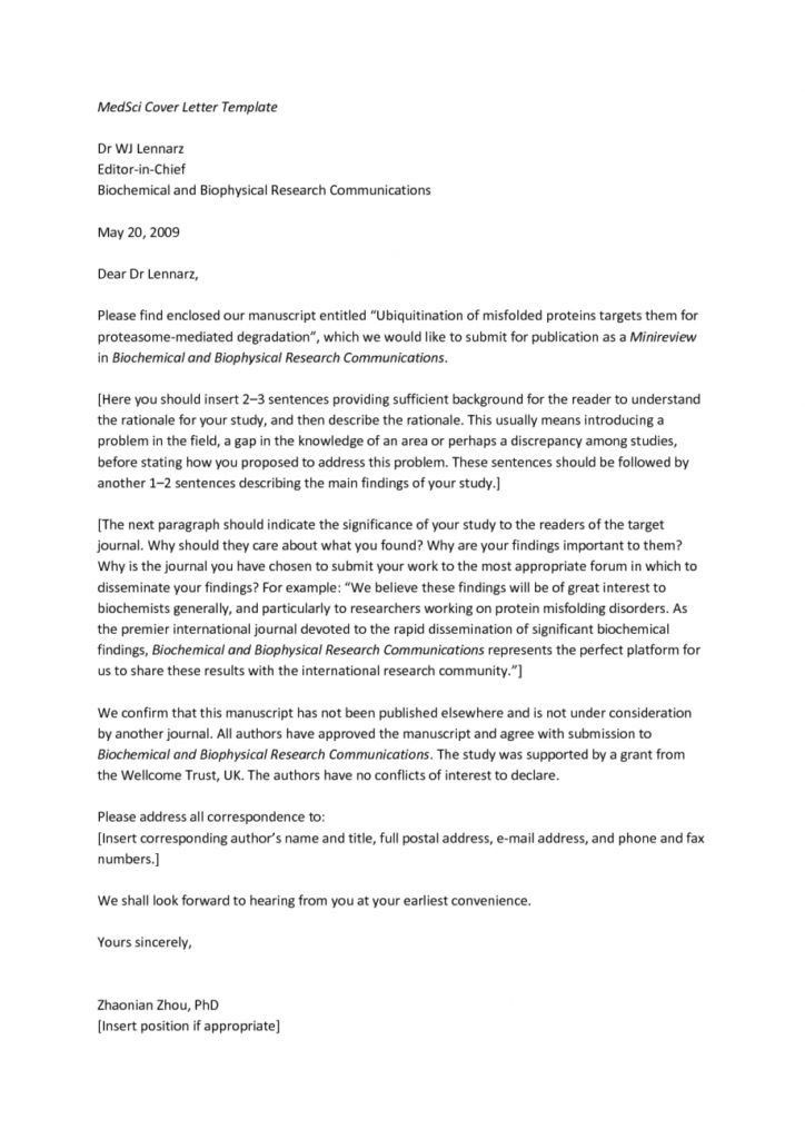 Journal Cover Letter Writing A Journal Cover Letter Free Template - free sample cover letters
