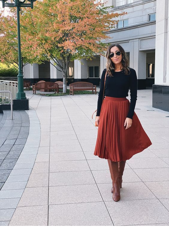 I love this brown midi skirt for Fall