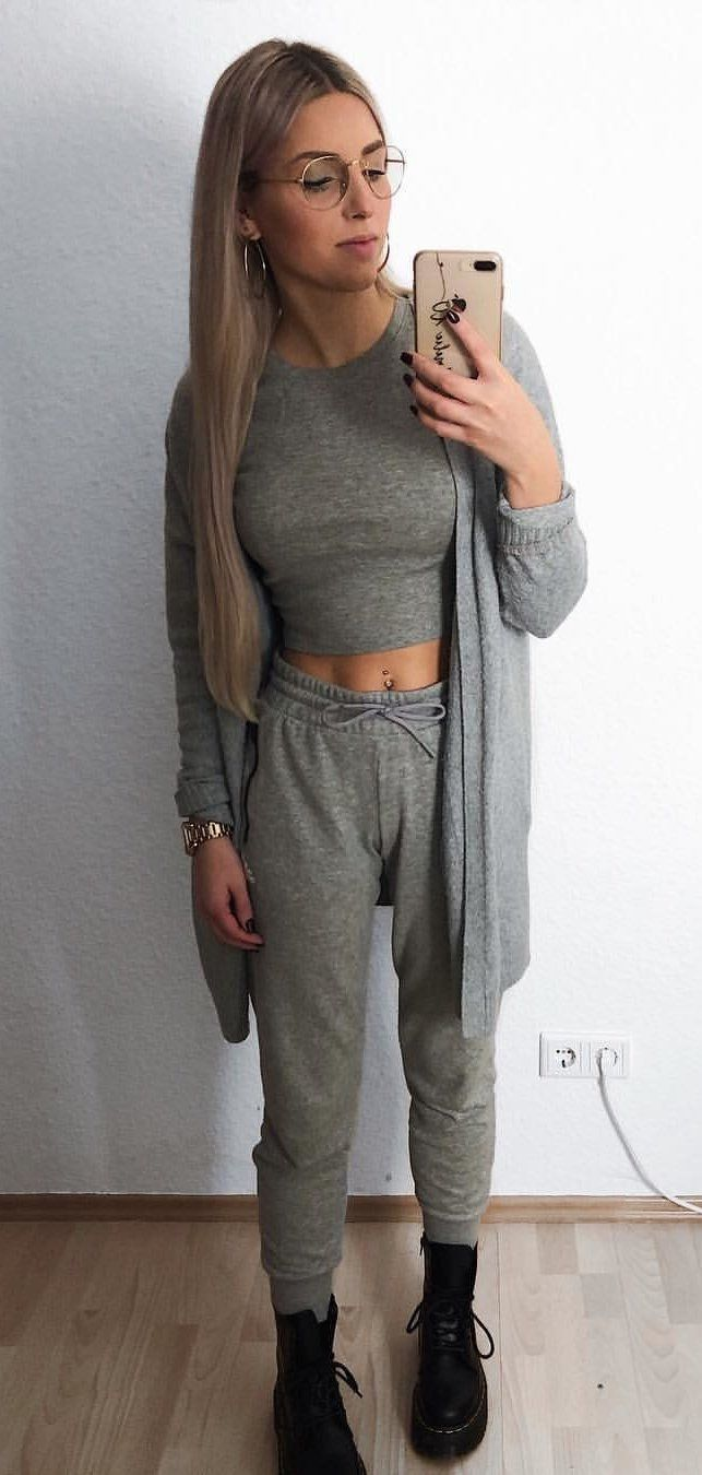 gray long sleeve dress #spring #outfits