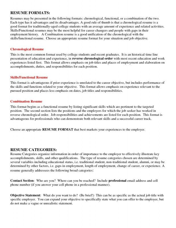 ... Most Common Resume Format 3 Resume Formats Which One Works For   Recent Resume  Format ...