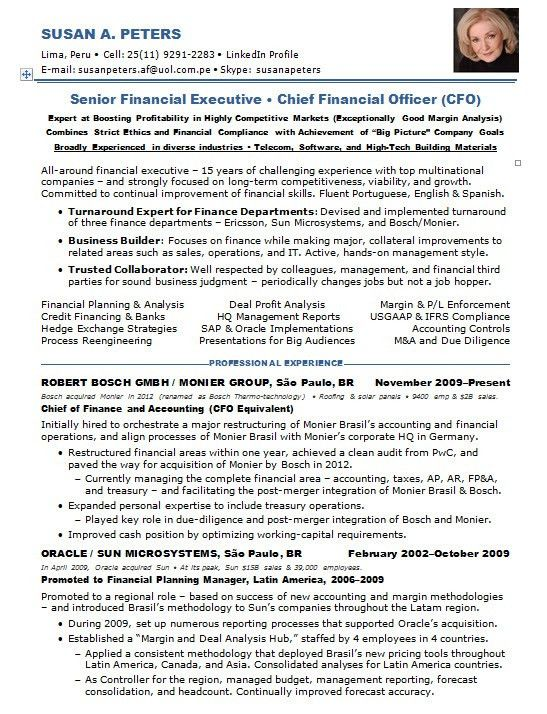 cfo sample resumes