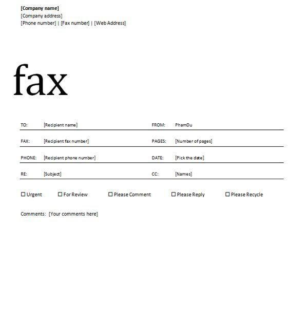 Ms Word Templates Fax Cover Sheet Cover Letter