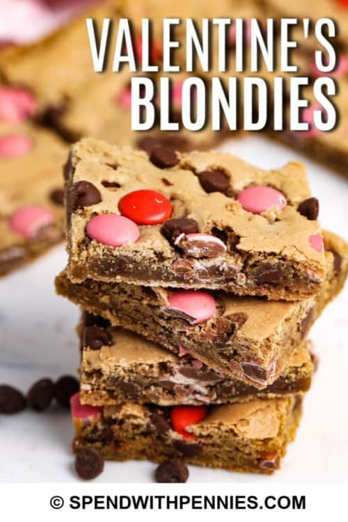 Share some love with this easy M&M blondie recipe! They are perfectly sweet, chewy and delicious!