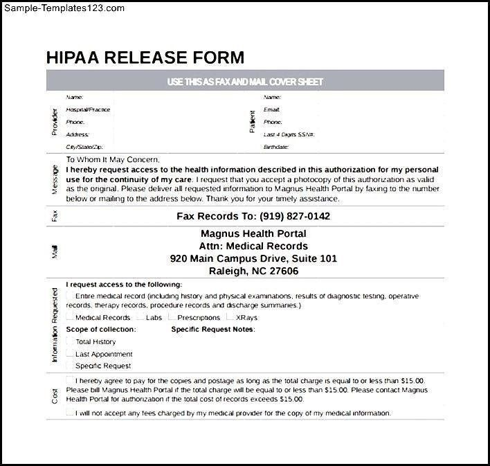 Hipaa Release Form Hipaa Release Form Sample Release Of - sample medical records release form