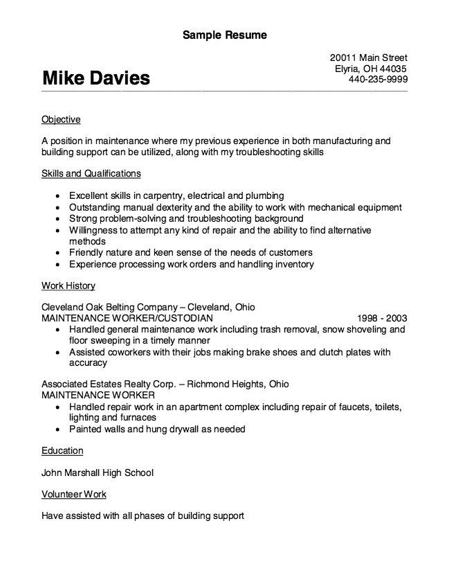 Maintenance Worker Resume Sample Professional General Maintenance - maintenance resume template