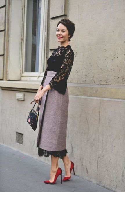 Glam lace dress with a skirt