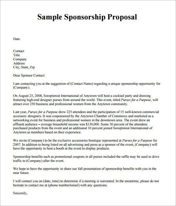 Sponsorship Package Template Sample Sponsorship Proposal Template - event proposal template doc