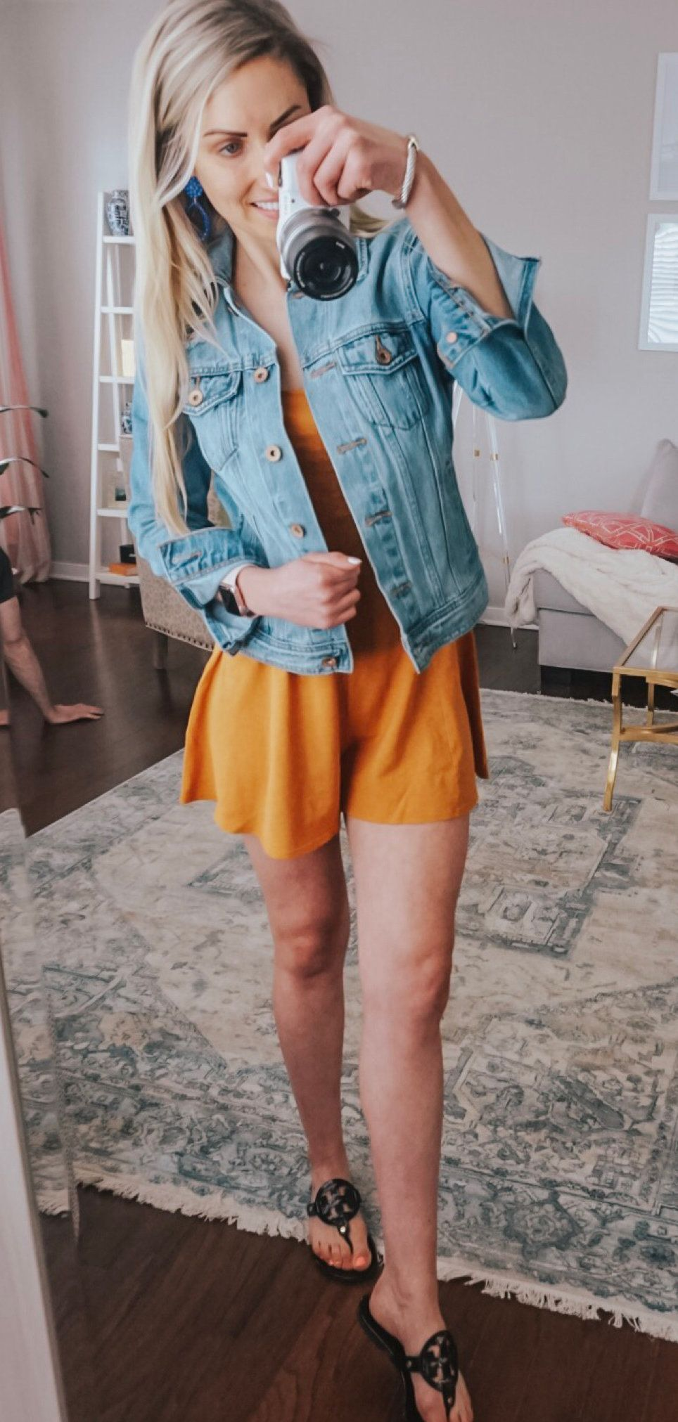 Denim Jacket + Yellow Adorable Little Romper #spring #outfits