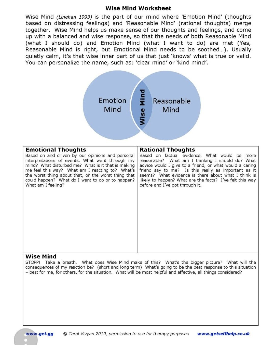 Emotional Rational Wise Mind Worksheet