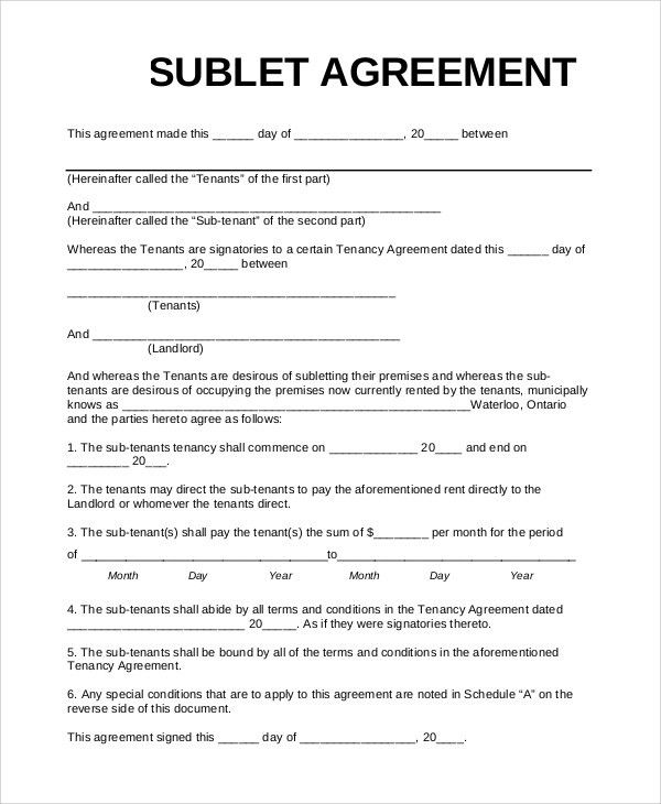 Basic Sublet Agreement Sublease Agreement Form Sublet Contract - sublease agreement
