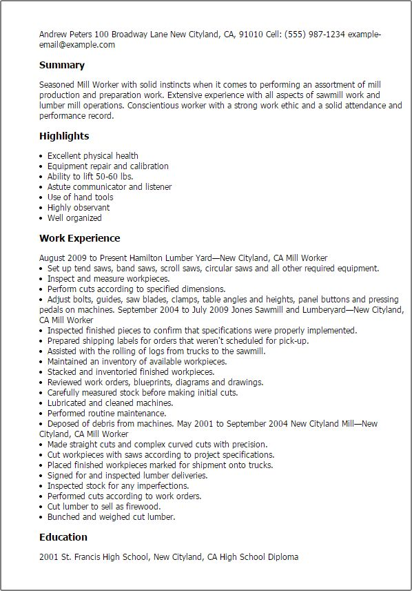 mill worker sample resume node2004-resume-templatepaasprovider - mill worker sample resume