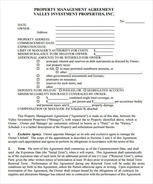 Property Agreement Template Property Agreement Template Microsoft - management agreement