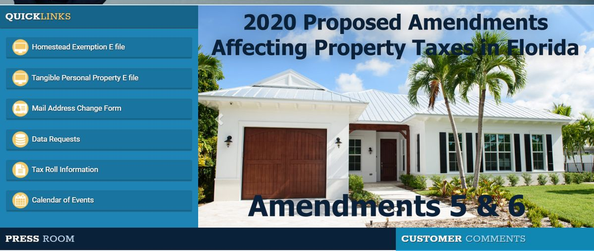 palm beach county property appraiser Amendment 5 and 6