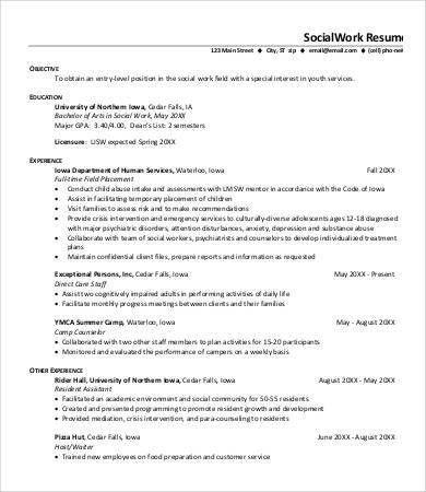 social worker sample resume
