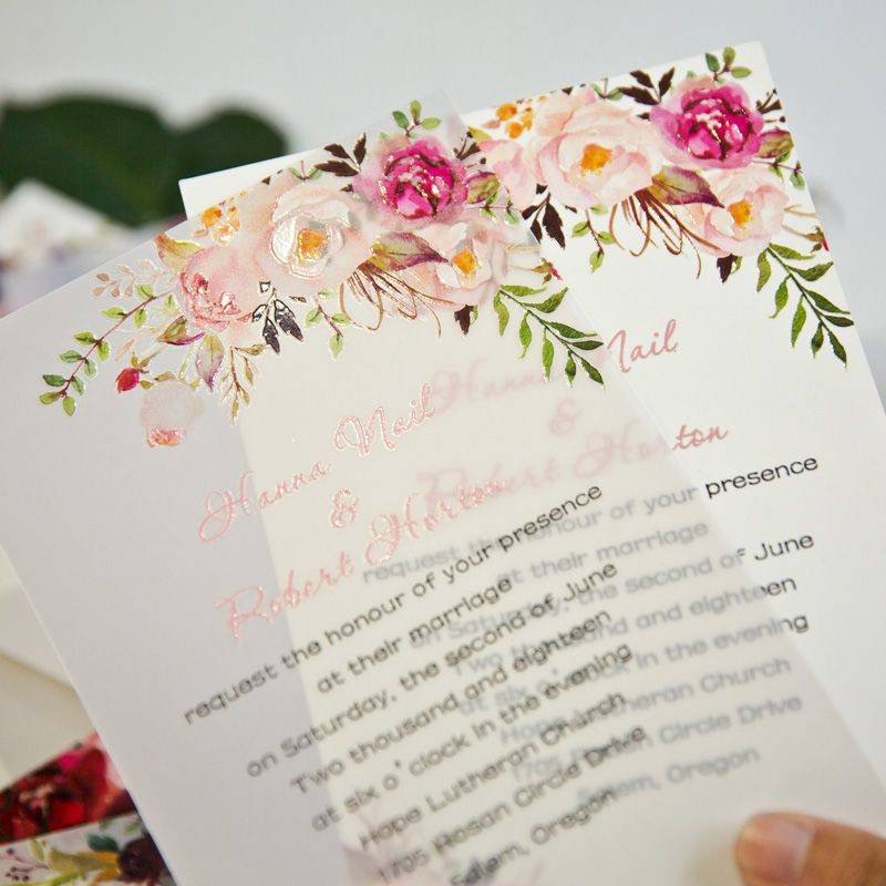 floral UV printing on vellum paper for invitations
