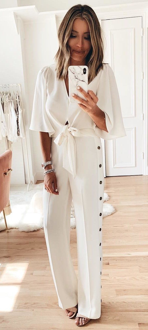 white overalls #spring #outfits