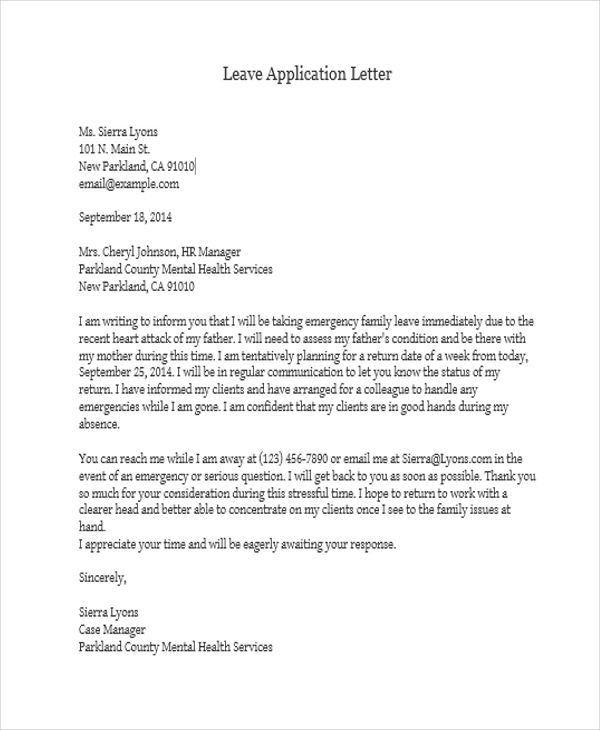 Sample Leave Application Leave Application For Sisters Marriage - school leave application