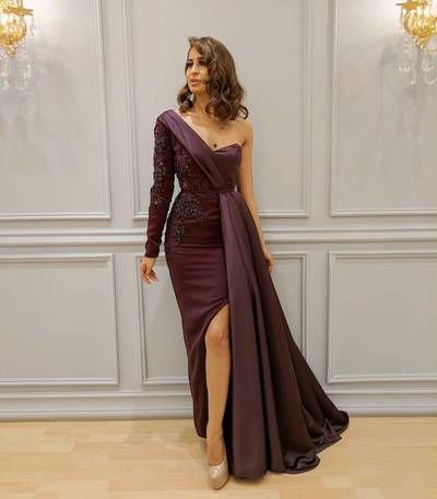 Fashion One-shoulder Long Sleeves Prom Evening Dress, High Slit Appliques Beaded Evening Dresses, Mo on Luulla