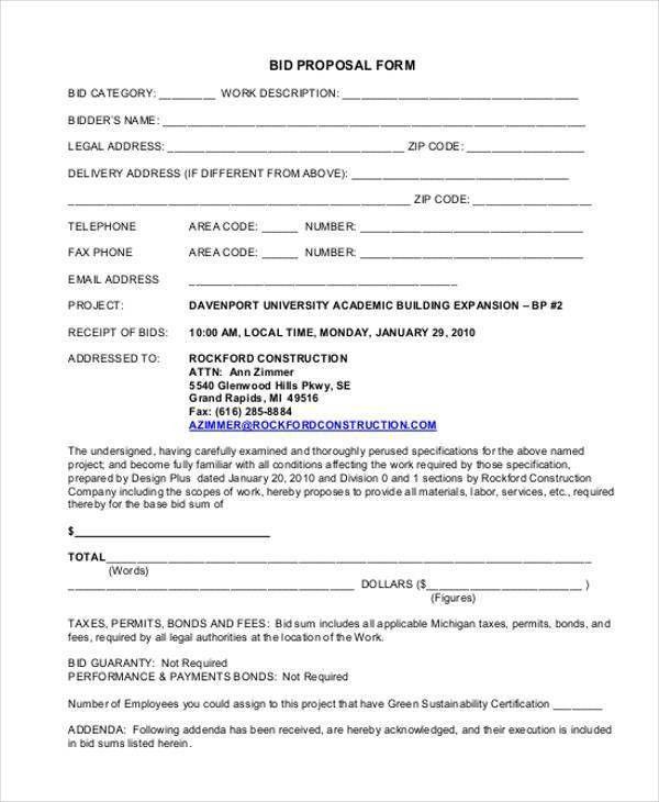 Bid Proposal Form 11 Bid Proposal Form Proposal Template 2017 - bid proposals