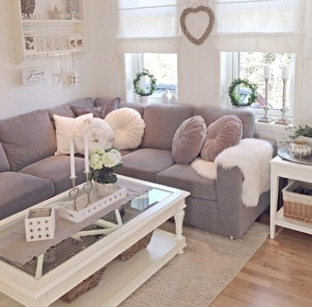 wohnzimmer pink grau:White and Grey Living Room Pinterest