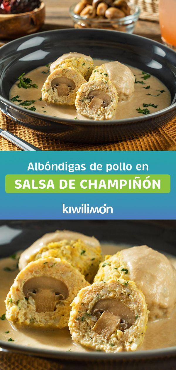 Albóndigas de Pollo en Salsa de Champiñón