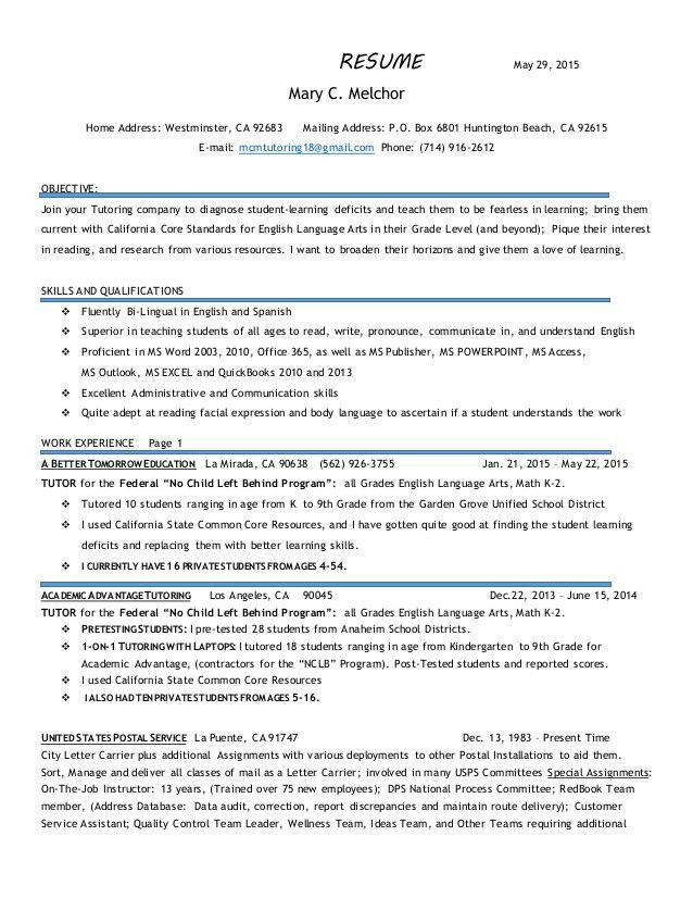 english tutor sample resume - English Tutor Sample Resume