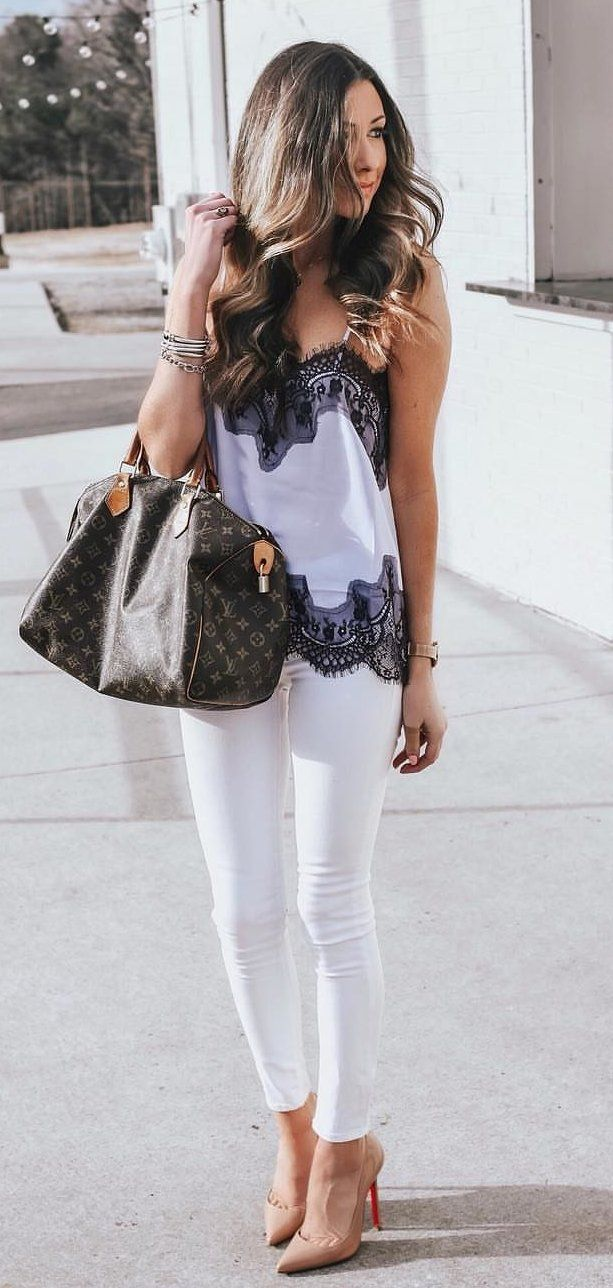 black leather tote bag #spring #outfits